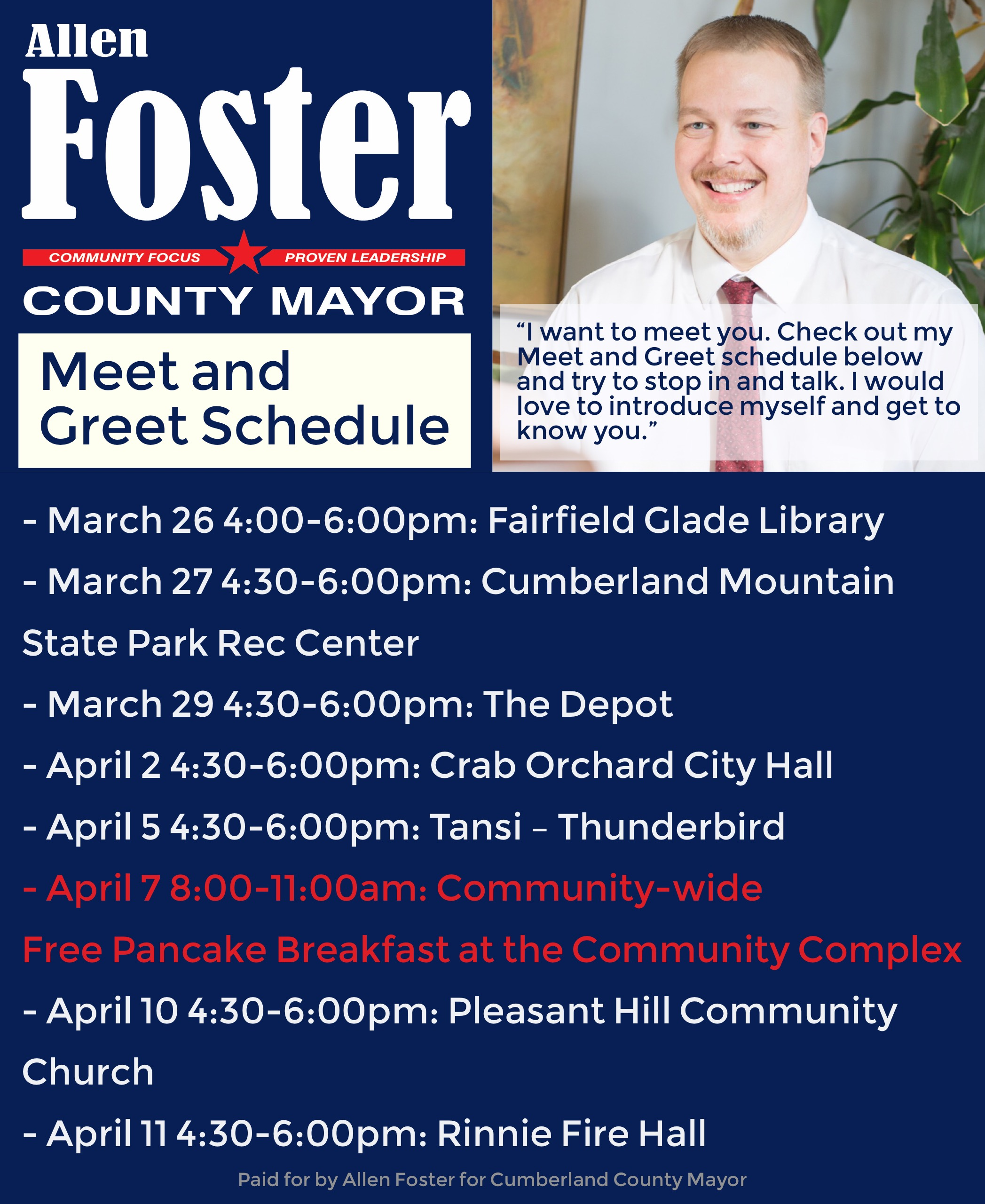 Meet and greet schedule allen foster for cumberland county mayor we have been doing meet and greetscoffees since early january the sixth in the series is coming up next week all events are free including the m4hsunfo